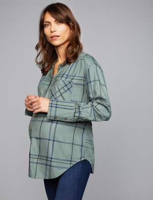 A Pea in the Pod Luxe Essentials Denim Button Front Plaid Maternity Shirt