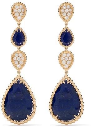 Boucheron 18kt yellow gold Serpent Bohème diamond and lapis lazuli pendant earrings