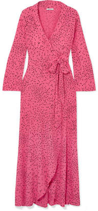 Ganni Barra Printed Crepe De Chine Wrap Maxi Dress - Pink