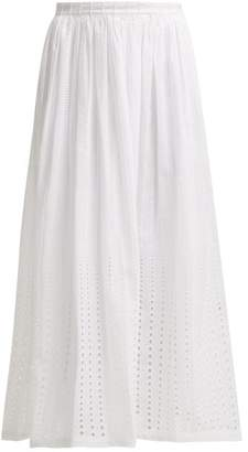 Le Sirenuse Le Sirenuse, Positano - Jane Embroidered Cotton Midi Skirt - Womens - White