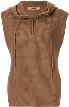 System hooded sleeveless jumper