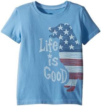Life is Good Crusher Big Flag Dog Tee Kid's T Shirt