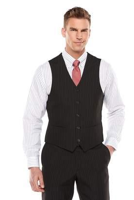 Savile Row Men's Striped Black Suit Vest