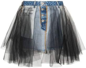 e5c0a649d7 Unravel Project Denim and tulle mini-skirt
