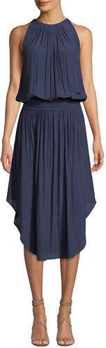 Ramy Brook Audrey Sleeveless Blouson Midi Dress, Navy