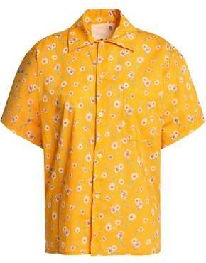 R 13 Floral-Print Cotton-Poplin Shirt