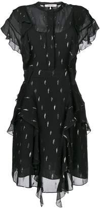 Schumacher Dorothee metallic detail ruffled shirt dress