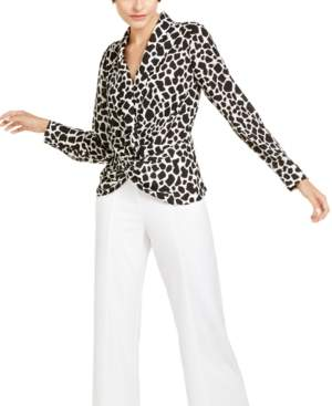 INC International Concepts I.n.c. Petite Printed Twist-Front Top, Created For Macy's