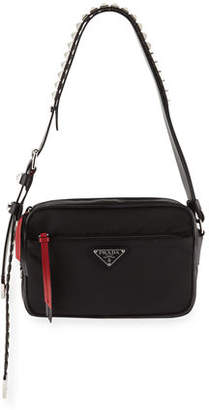 b2adfc547f12 Prada Black Nylon Shoulder Bag with Studding