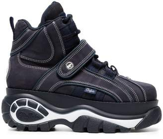 Buffalo David Bitton Blue Classic nubuck flatform sneakers