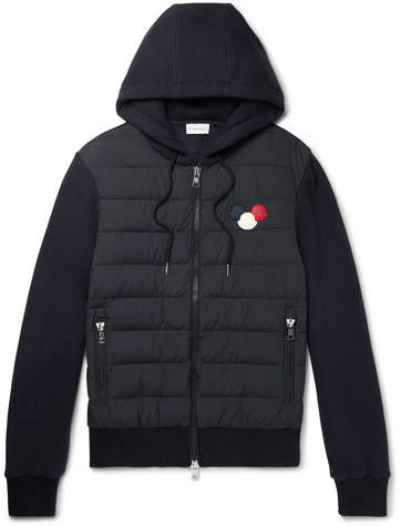 Moncler Maglia Slim-Fit Shell and Cotton-Blend Down Hoodie