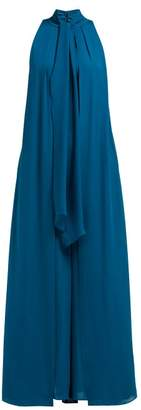 Elie Saab Tie Neck Layered Silk Georgette Jumpsuit - Womens - Blue