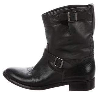 Belstaff Leather Round-Toe Ankle Boots
