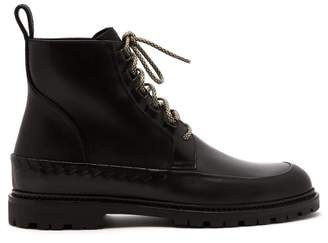 Bottega Veneta Intrecciato Weave Lace Up Leather Boots - Mens - Black