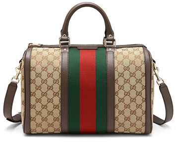 Gucci Vintage Web Boston Bag, Beige/Ebony/Cocoa