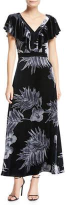 Lafayette 148 New York Portia Floral-Print Velvet Dress