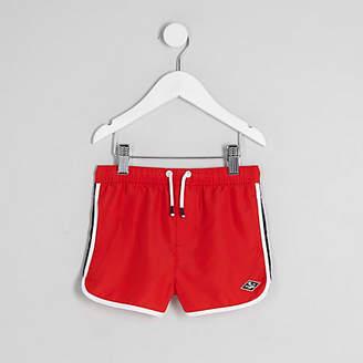 River Island Mini boys Red runner swim shorts