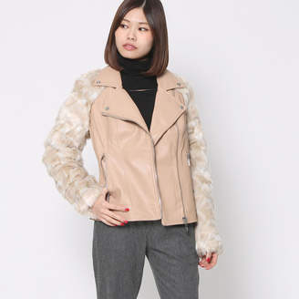 GUESS (ゲス) - ゲス GUESS MARCO FUR SLEEVE FAUX-LEATHER MOTO JACKET