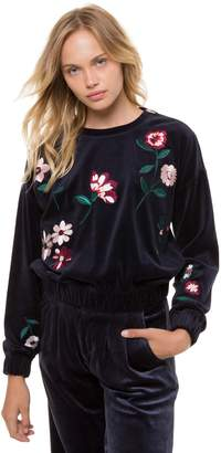 Juicy Couture Spellbound Floral Embroidered Velour Pullover