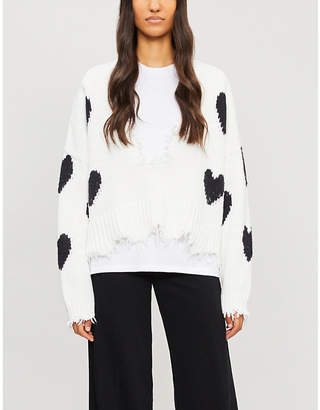 Wildfox Couture Distressed heart-print knitted jumper