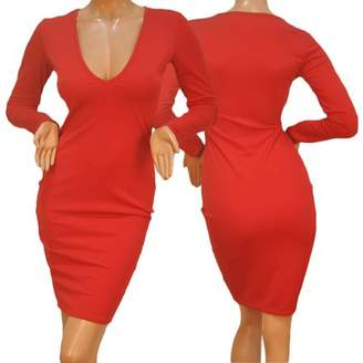 Feel Sexy Women Bandage Bodycon Long Sleeve Evening Party Red Lady Slim Fit Pencil Dress Deep V Collar Dress
