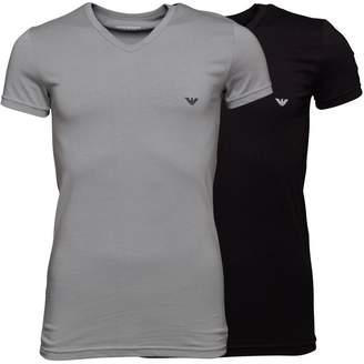 Emporio Armani Mens Two Pack T-Shirt Black/Grey