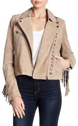 Bagatelle Suede Fringe Star Studded Moto Jacket