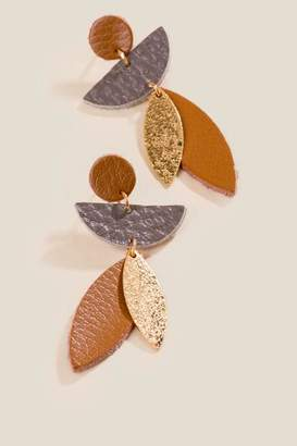 francesca's Nanette Mixed Shape Leather Drop Earrings - Brown