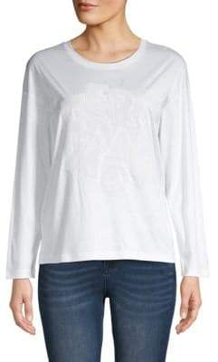 Salvatore Ferragamo Long-Sleeve Cotton Top