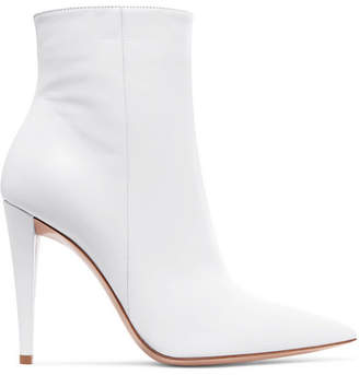 Gianvito Rossi 100 Leather Ankle Boots - White