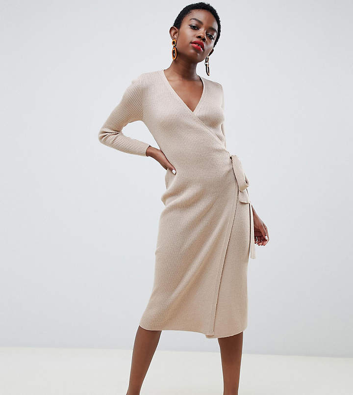 Lost Ink Petite knitted wrap dress With Tie Waist In Fine Rib Knit