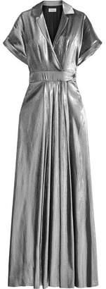 Temperley London Lamé Wrap-effect Maxi Dress - Silver