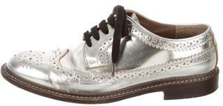 MarniMarni Metallic Leather Wing-Tip Oxfords