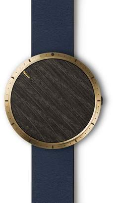 Cloak Watches - Smoked Oak Face With Brass Pvd Bezel & Navy Leather Strap