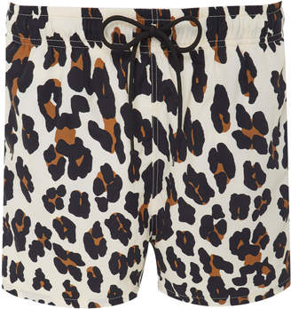 Solid & Striped Leopard-Print Shell Swim Shorts