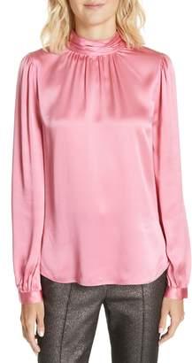 Veronica Beard Chilton Bow Back Silk Blouse