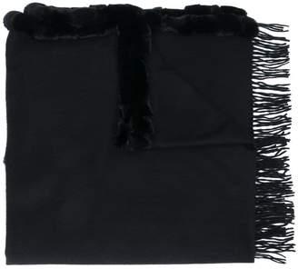 N.Peal fur-trim shawl scarf