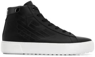 Emporio Armani Ea7 embossed logo hi-top sneakers