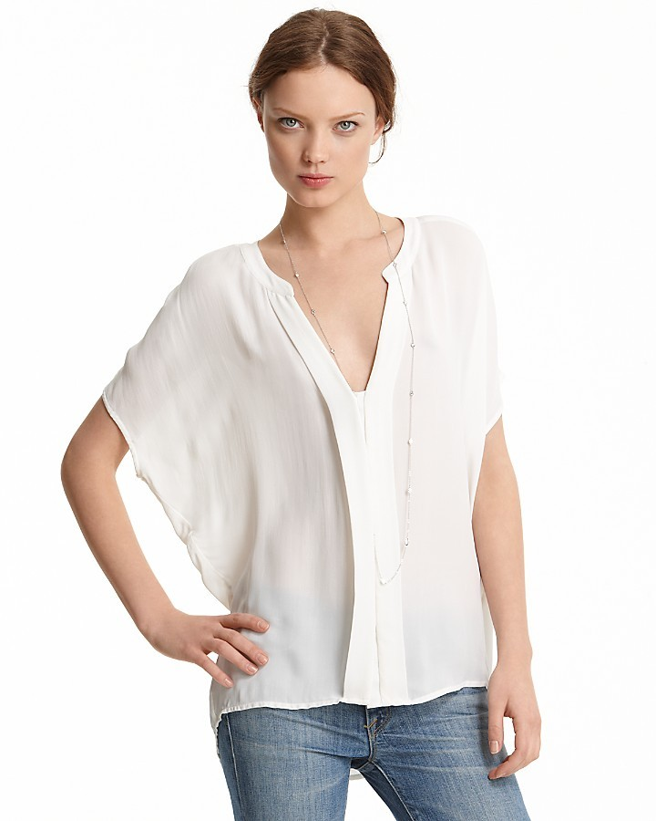 Vince Padded Shoulder Silk Blouse
