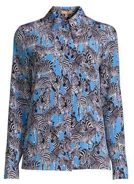 Michael Kors Zebra Print Button-Down Blouse