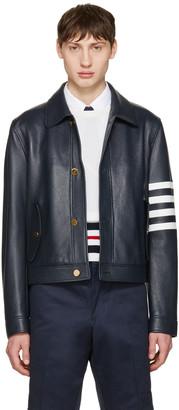 Thom Browne Navy Leather Harrington Jacket $3,900 thestylecure.com