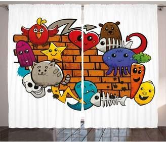 Graffiti Decor Curtains 2 Panels Set, Cute Cartoon Animals Stars Fish Skulls Cat Bird Figures on Brick Wall Kids Design, Window Drapes for Living Room Bedroom, 108W X 90L Inches, Multi, by Ambesonne