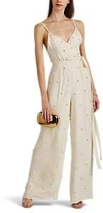 Azeeza Women's Thea Jewel-Embellished Silk Satin Wrap Jumpsuit - Ivory