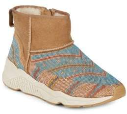 Ash Mohican Beaded Suede & Shearling Booties