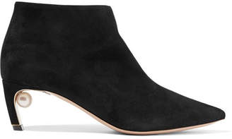 Nicholas Kirkwood Mira Faux Pearl-embellished Suede Ankle Boots - Black