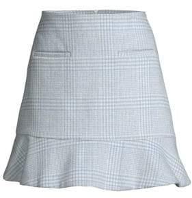 Ganni Woodside Check Flounce Mini Skirt