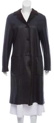 Barneys New York Barney's New York Lambskin Button-Up Coat