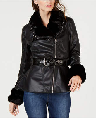 INC International Concepts I.n.c. Petite Faux-Shearling & Faux-Leather Aviator Jacket