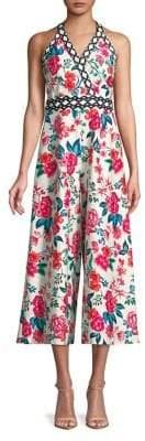 Eliza J Lattice Floral Wide-Leg Romper