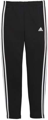 adidas Older Boys 3 Stripe slim leg fleece pant